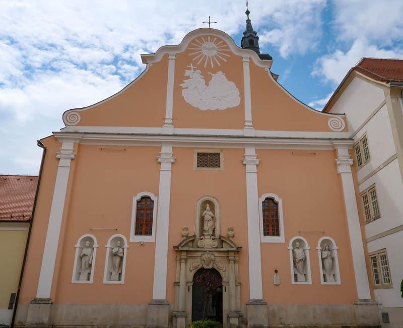 Facade of the Cathedral in Varazdin  Croatia