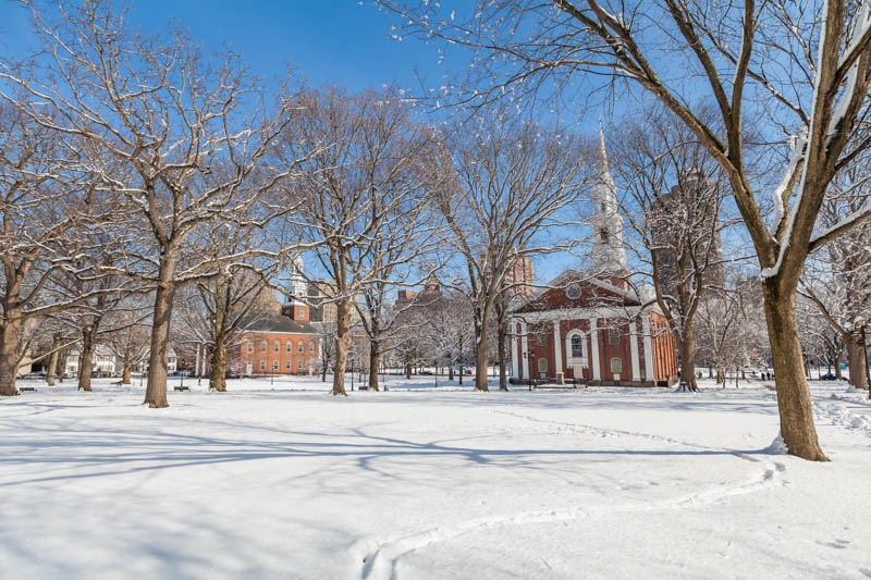 New haven Green, a Park in New haven Connecticut in the Winter
