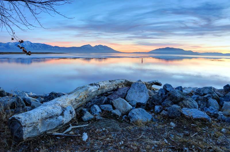 Sunset at Utah Lake near Provo