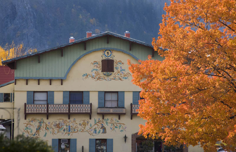 One of the beautiful facades in Leavenworth, Washington in the fall