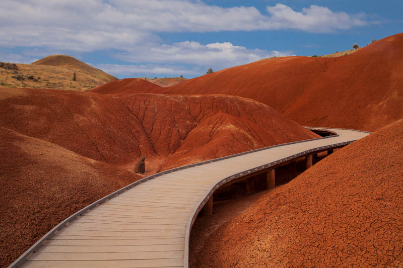A boardwalk trail through the Painted Hills in Oregon