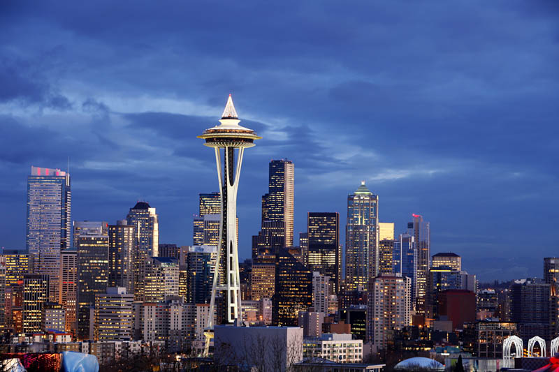 The Space Needle dominates the skyline in Seattle, Washington