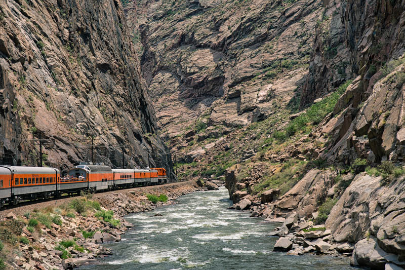 Riding the train at the Royal Gorge in Canon City Colorado