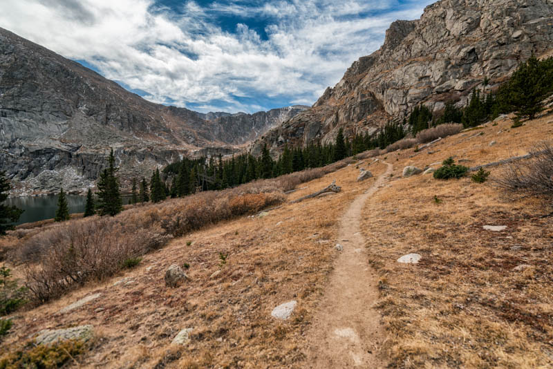 A hiking trail in the Mount Evans Wilderness in CO