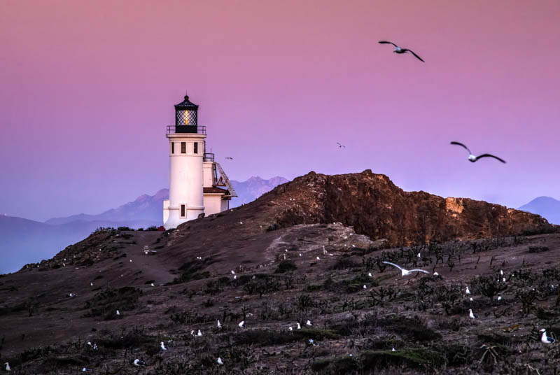 Lighthouse on Anacapa Island in Channel Islands National Park, California