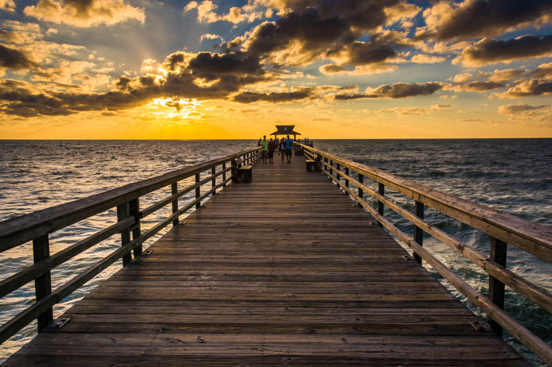 Naples Pier in Florida at Sunset