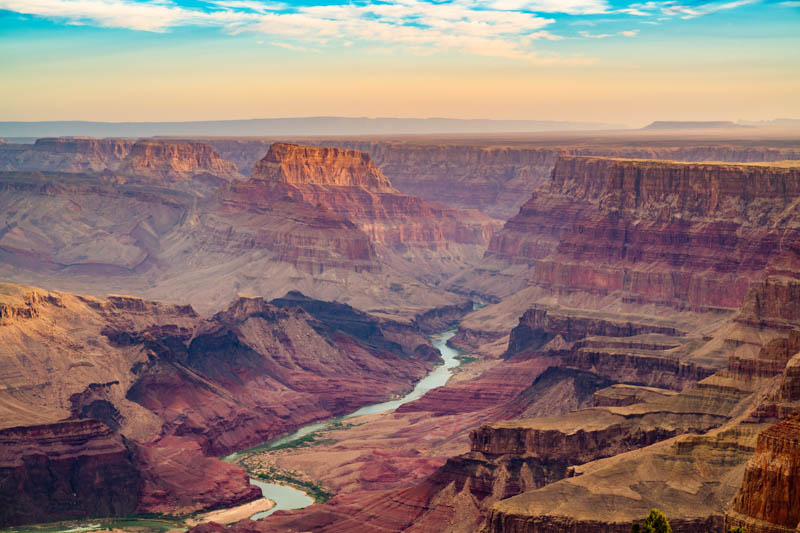 View from the South Rim of the Grand Canyon at sunset.