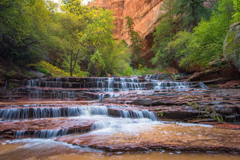 A waterfall at Zion National Park in Utah