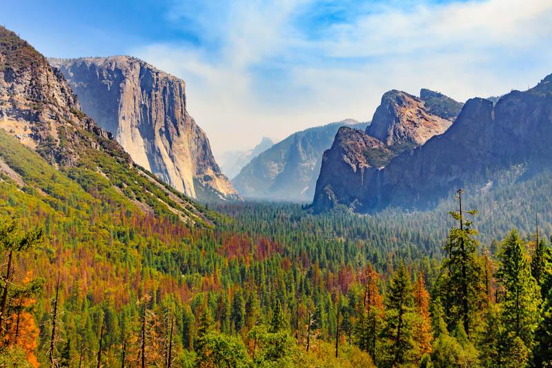 View of El Capitan and Half Dome in Yosemite NP, California
